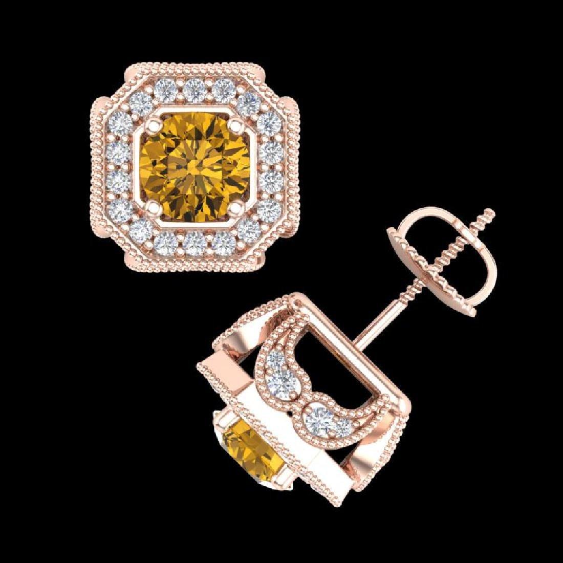2.75 CTW Intense Fancy Yellow Diamond Art Deco Stud - 3