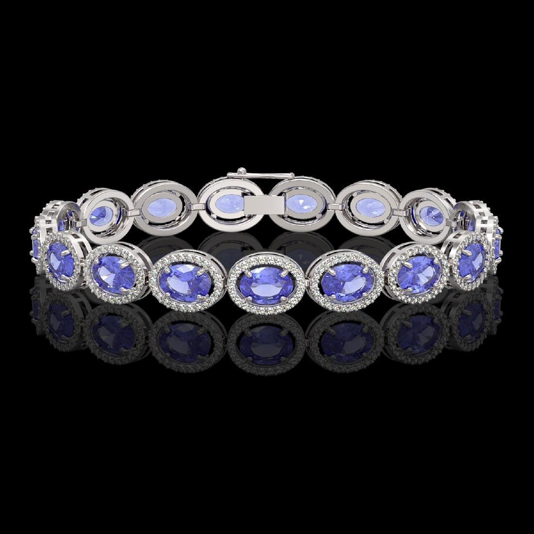 21.35 CTW Tanzanite & Diamond Halo Bracelet 10K White