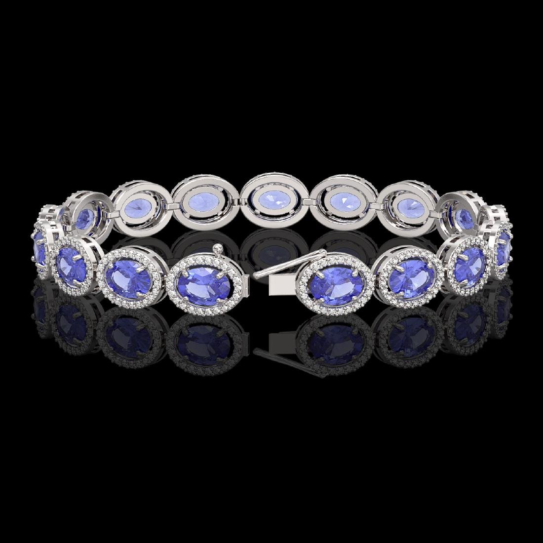 21.35 CTW Tanzanite & Diamond Halo Bracelet 10K White - 2