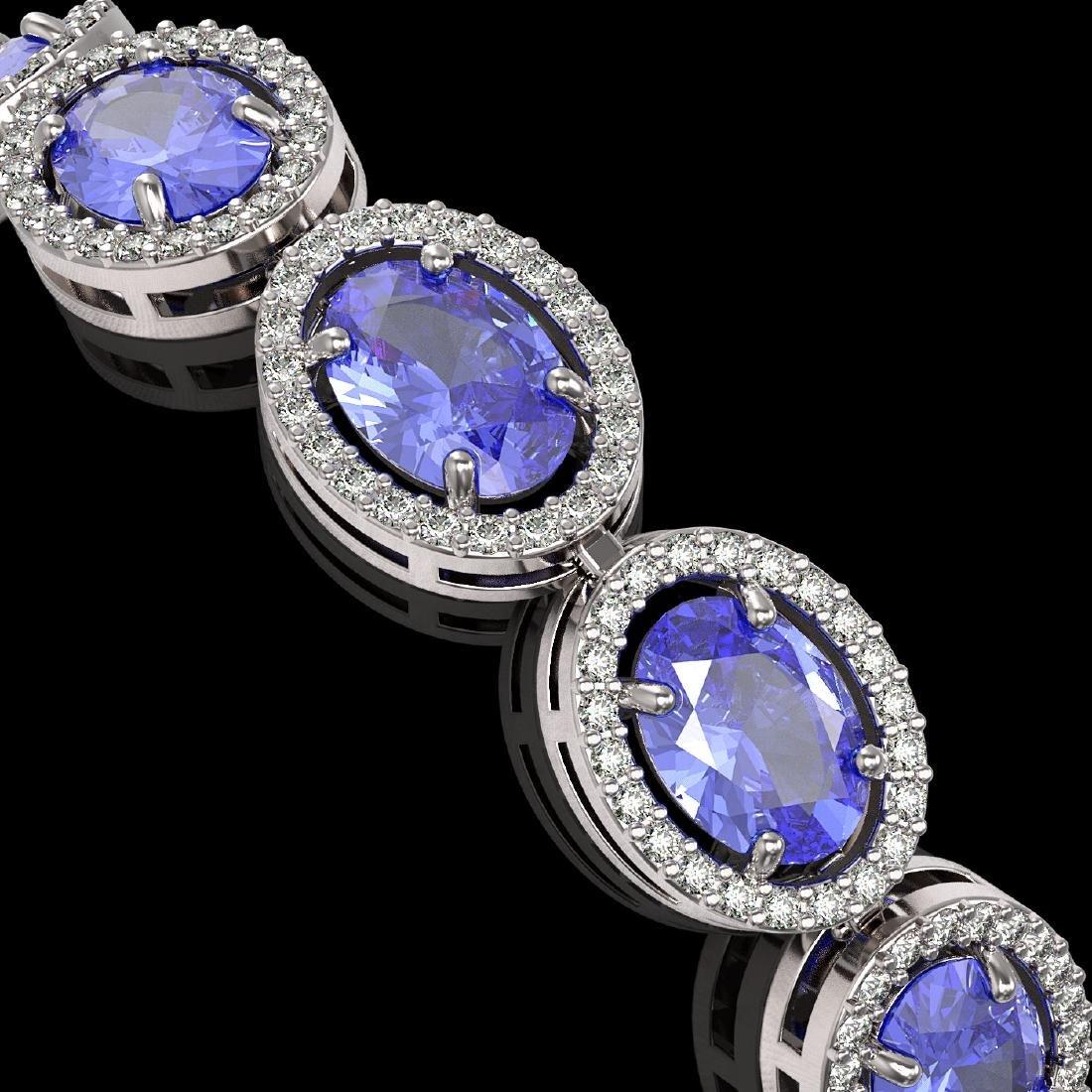 21.35 CTW Tanzanite & Diamond Halo Bracelet 10K White - 3
