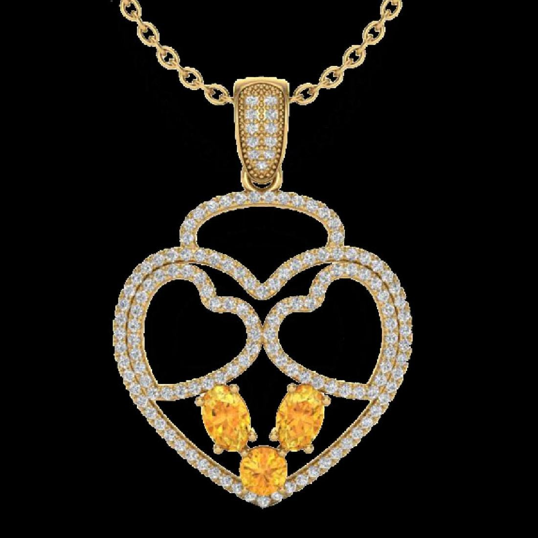 3 CTW Citrine & Micro Pave Designer Inspired Heart - 2