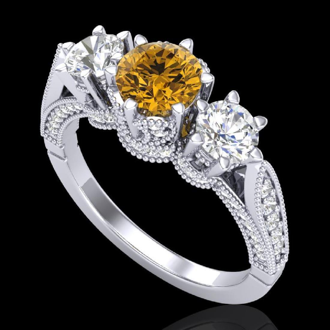 2.18 CTW Intense Fancy Yellow Diamond Art Deco 3 Stone