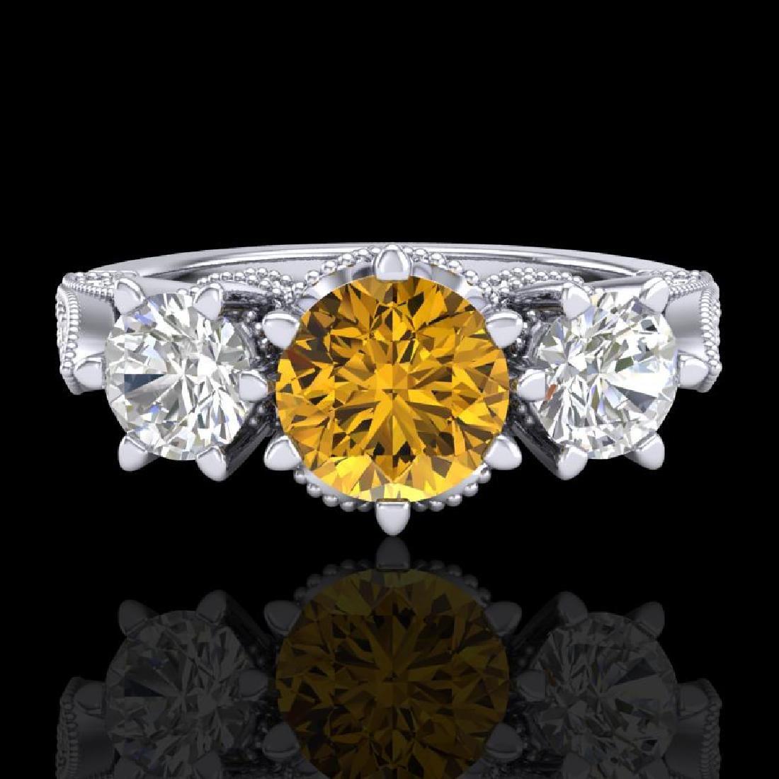 2.18 CTW Intense Fancy Yellow Diamond Art Deco 3 Stone - 2