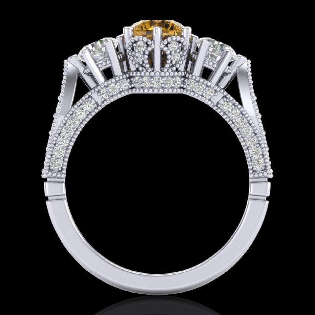 2.18 CTW Intense Fancy Yellow Diamond Art Deco 3 Stone - 3
