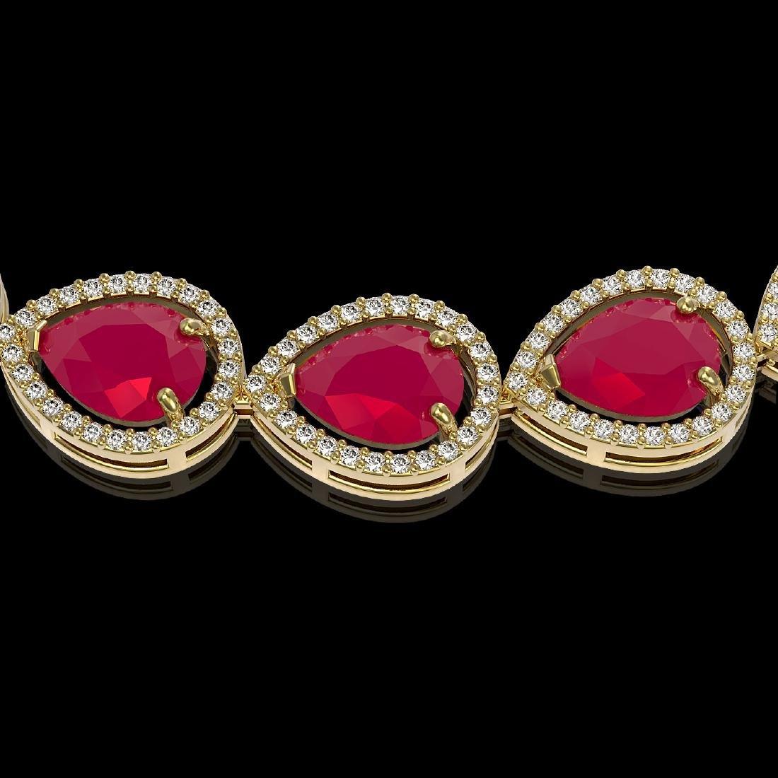 64.01 CTW Ruby & Diamond Halo Necklace 10K Yellow Gold - 2