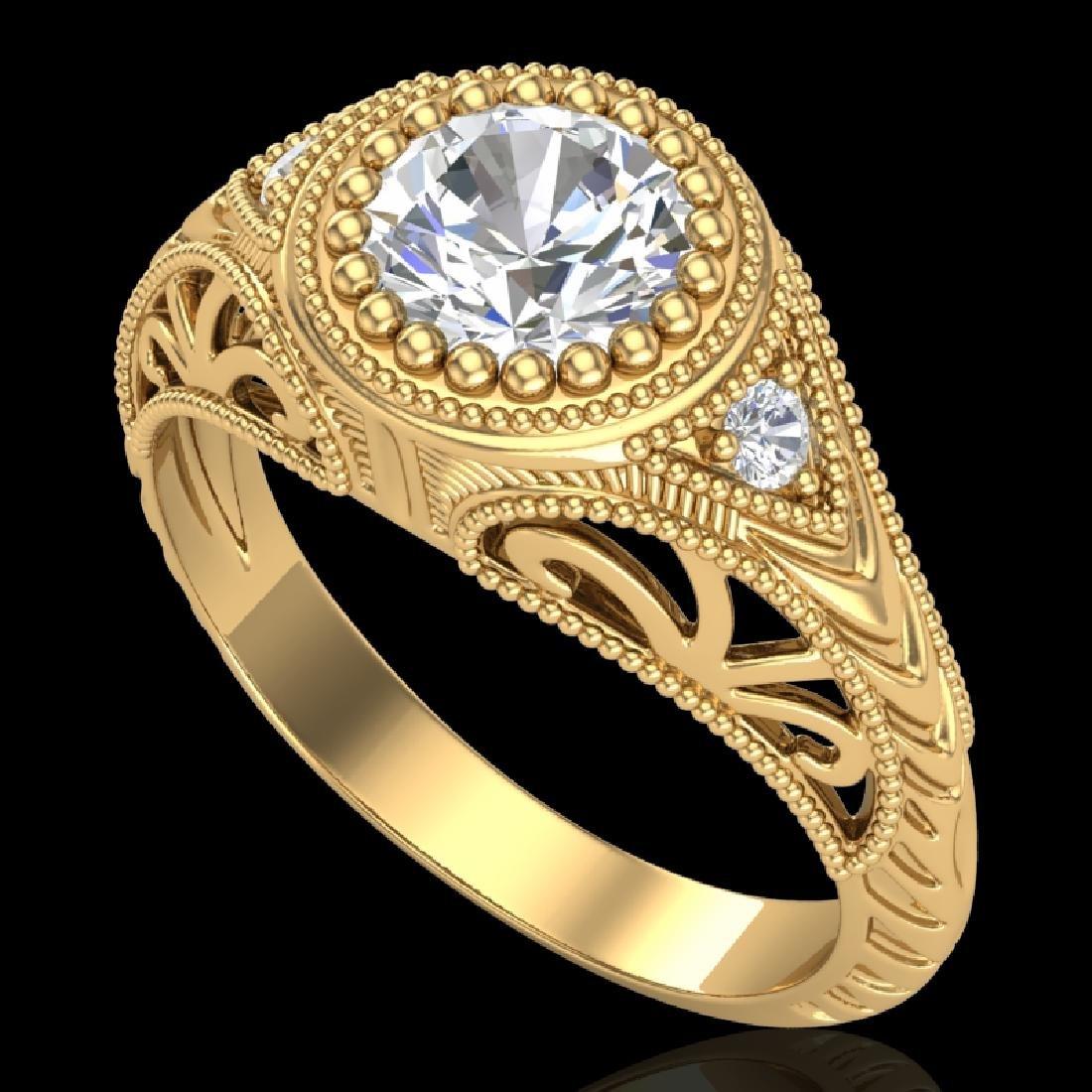1.07 CTW VS/SI Diamond Art Deco Ring 18K Yellow Gold