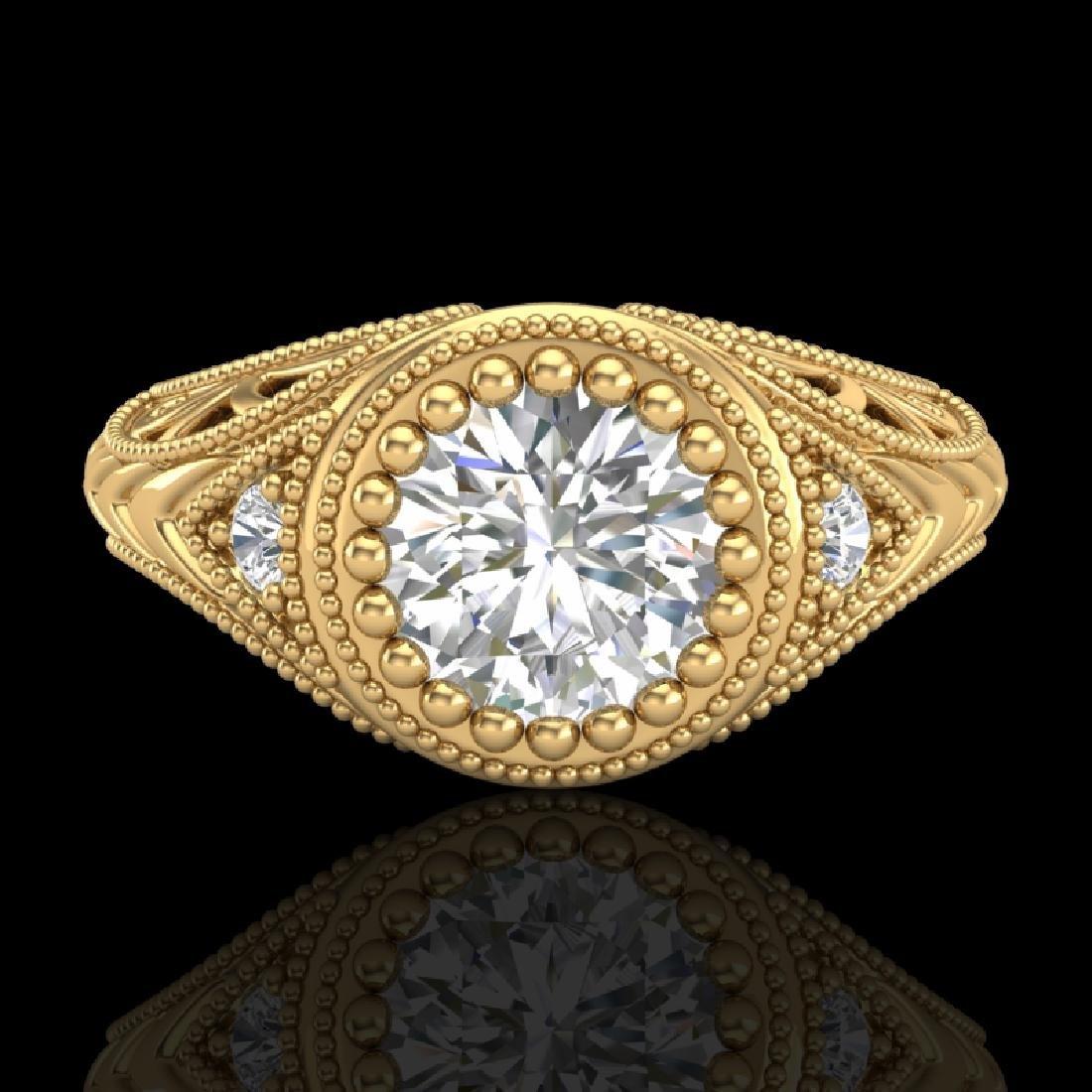 1.07 CTW VS/SI Diamond Art Deco Ring 18K Yellow Gold - 2
