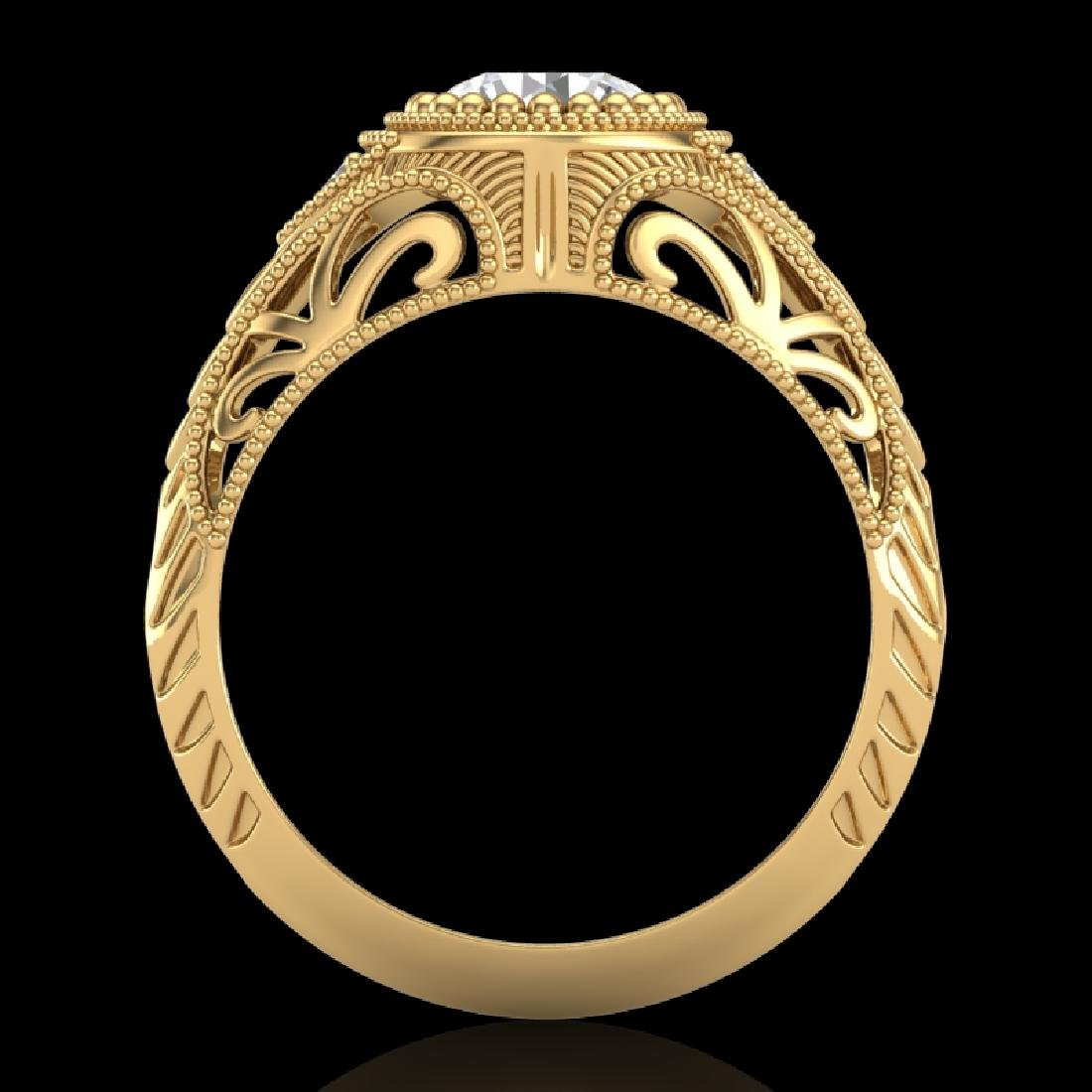 1.07 CTW VS/SI Diamond Art Deco Ring 18K Yellow Gold - 3