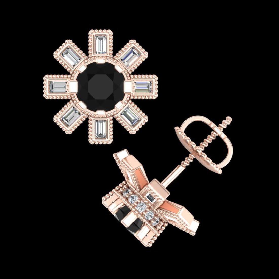 1.77 CTW Fancy Black Diamond Solitaire Art Deco Stud - 3