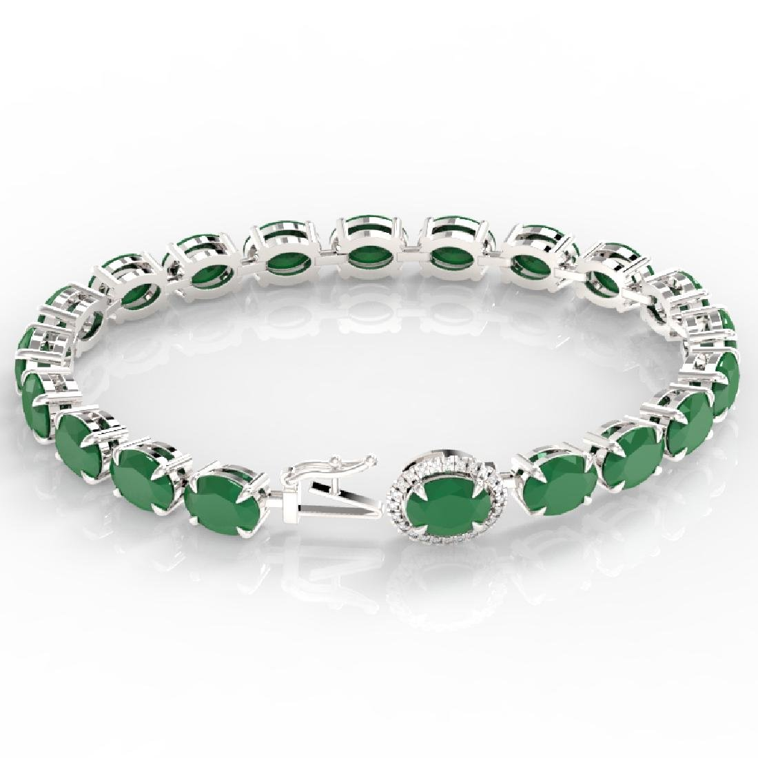 37 CTW Emerald & VS/SI Diamond Tennis Micro Pave Halo - 3