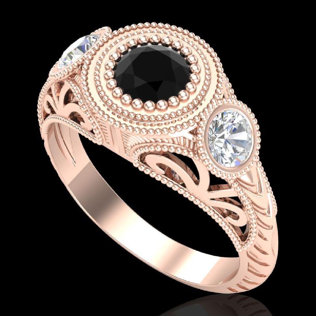1.06 CTW Fancy Black Diamond Solitaire Art Deco 3 Stone