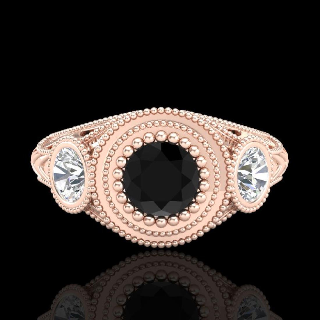 1.06 CTW Fancy Black Diamond Solitaire Art Deco 3 Stone - 2