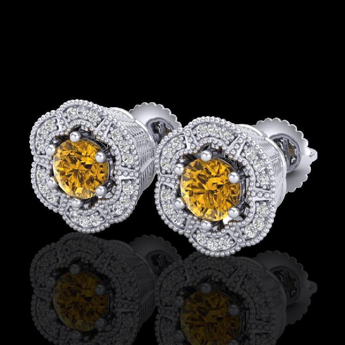 1.51 CTW Intense Fancy Yellow Diamond Art Deco Stud