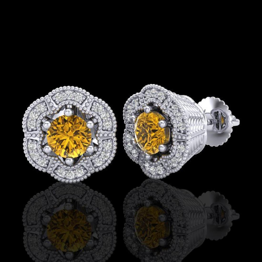 1.51 CTW Intense Fancy Yellow Diamond Art Deco Stud - 2