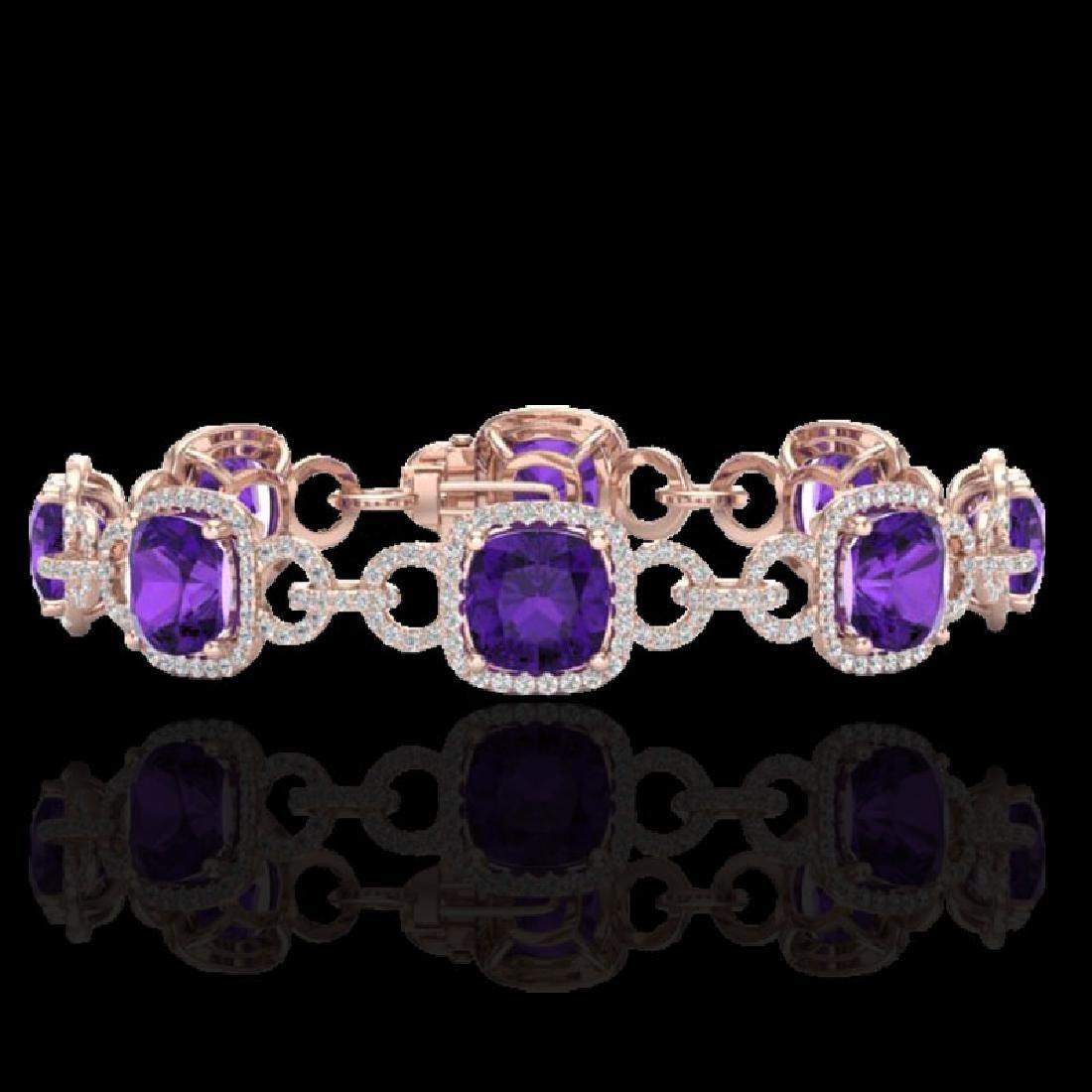 30 CTW Amethyst & Micro VS/SI Diamond Bracelet 14K Rose
