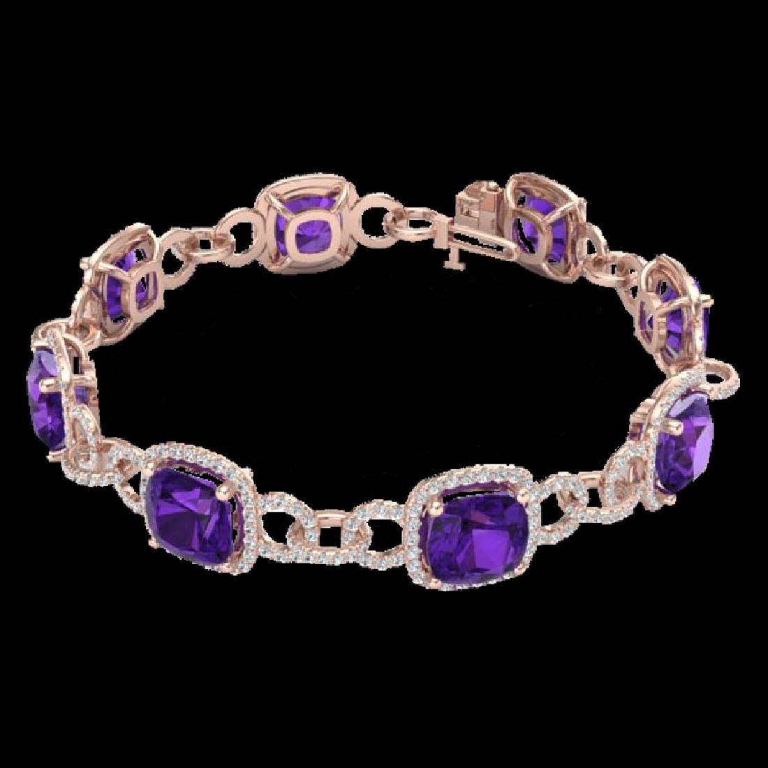 30 CTW Amethyst & Micro VS/SI Diamond Bracelet 14K Rose - 2