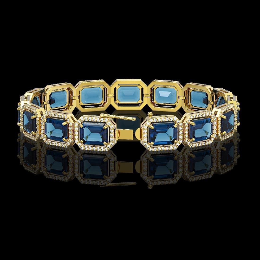 35.61 CTW London Topaz & Diamond Halo Bracelet 10K - 2