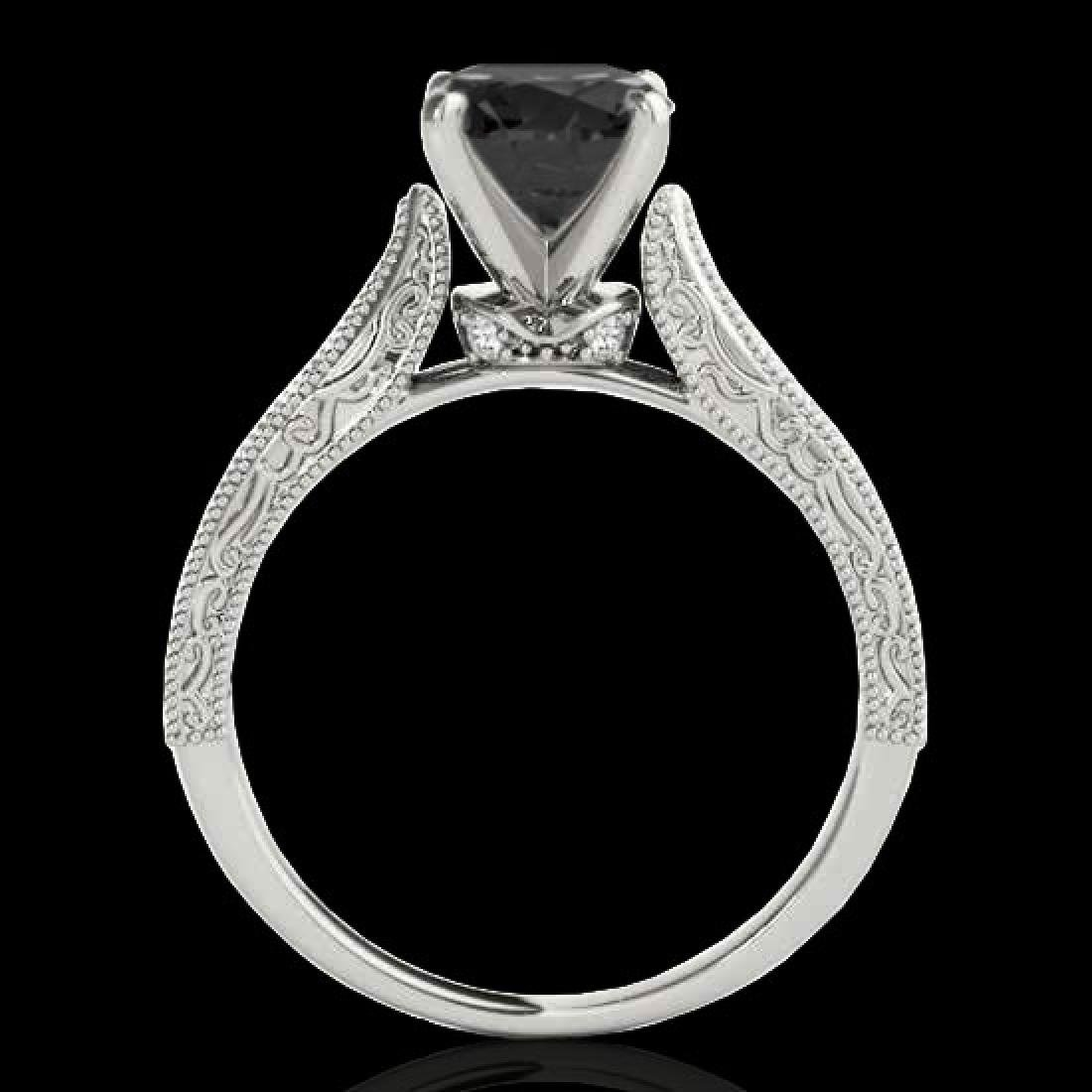1.21 CTW Certified VS Black Diamond Solitaire Antique