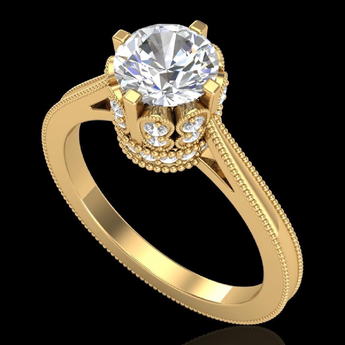 1.5 CTW VS/SI Diamond Art Deco Ring 18K Yellow Gold