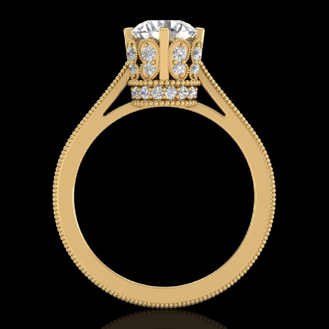 1.5 CTW VS/SI Diamond Art Deco Ring 18K Yellow Gold - 2