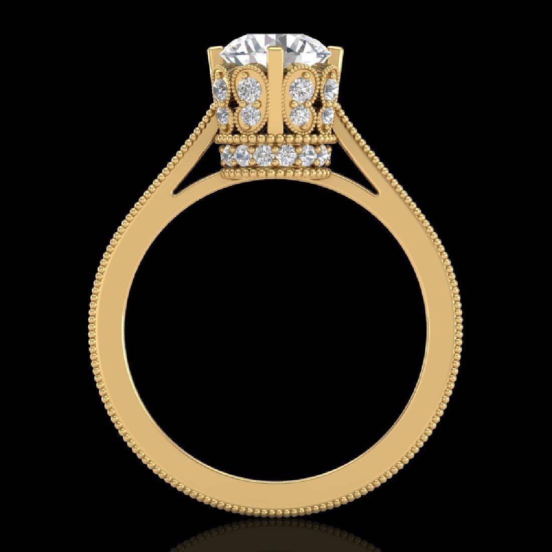 1.5 CTW VS/SI Diamond Art Deco Ring 18K Yellow Gold - 2
