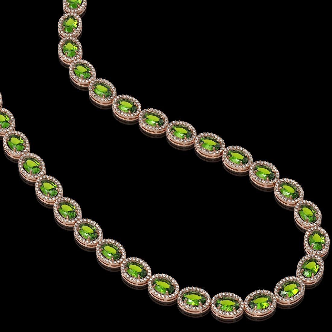 48.14 CTW Peridot & Diamond Halo Necklace 10K Rose Gold