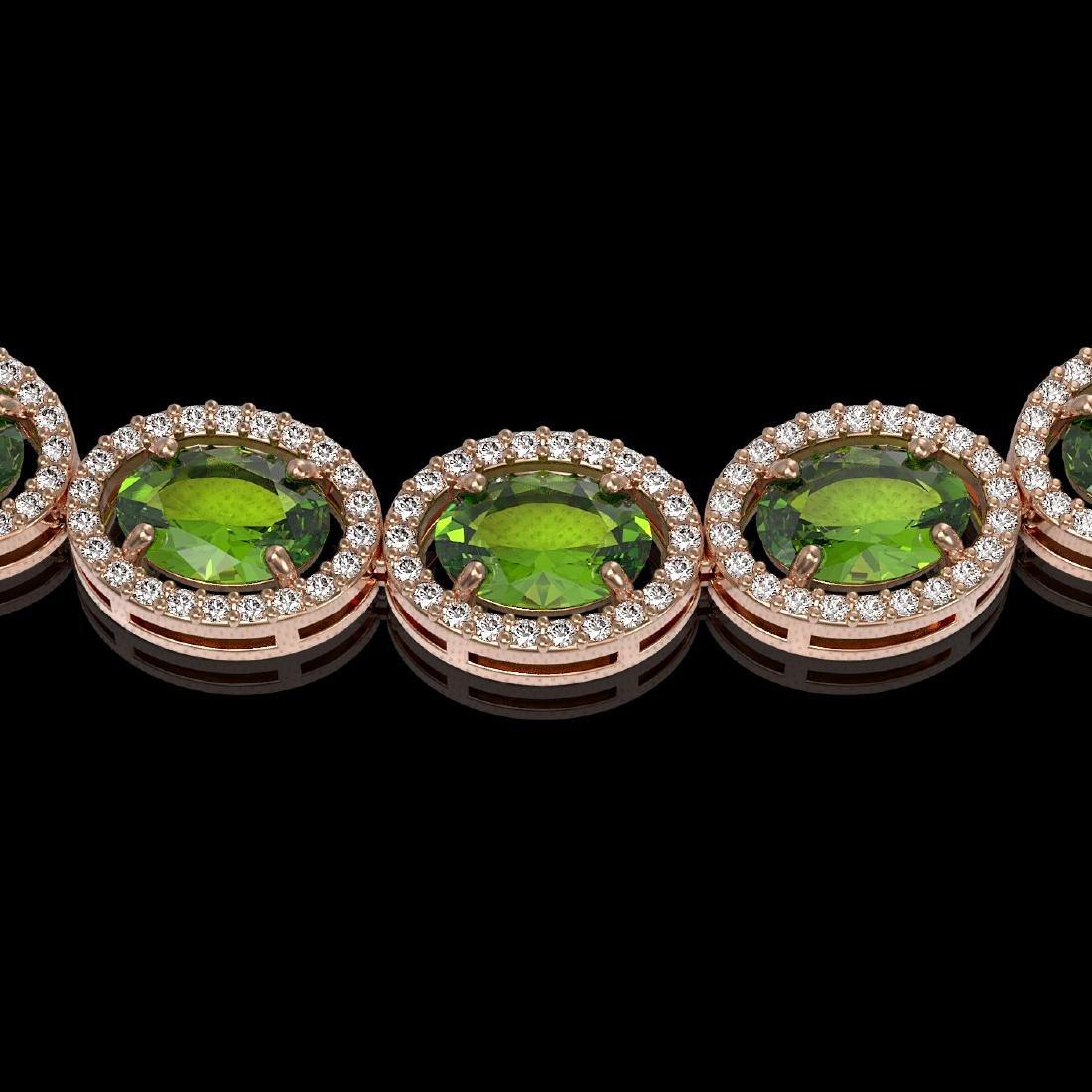 48.14 CTW Peridot & Diamond Halo Necklace 10K Rose Gold - 2