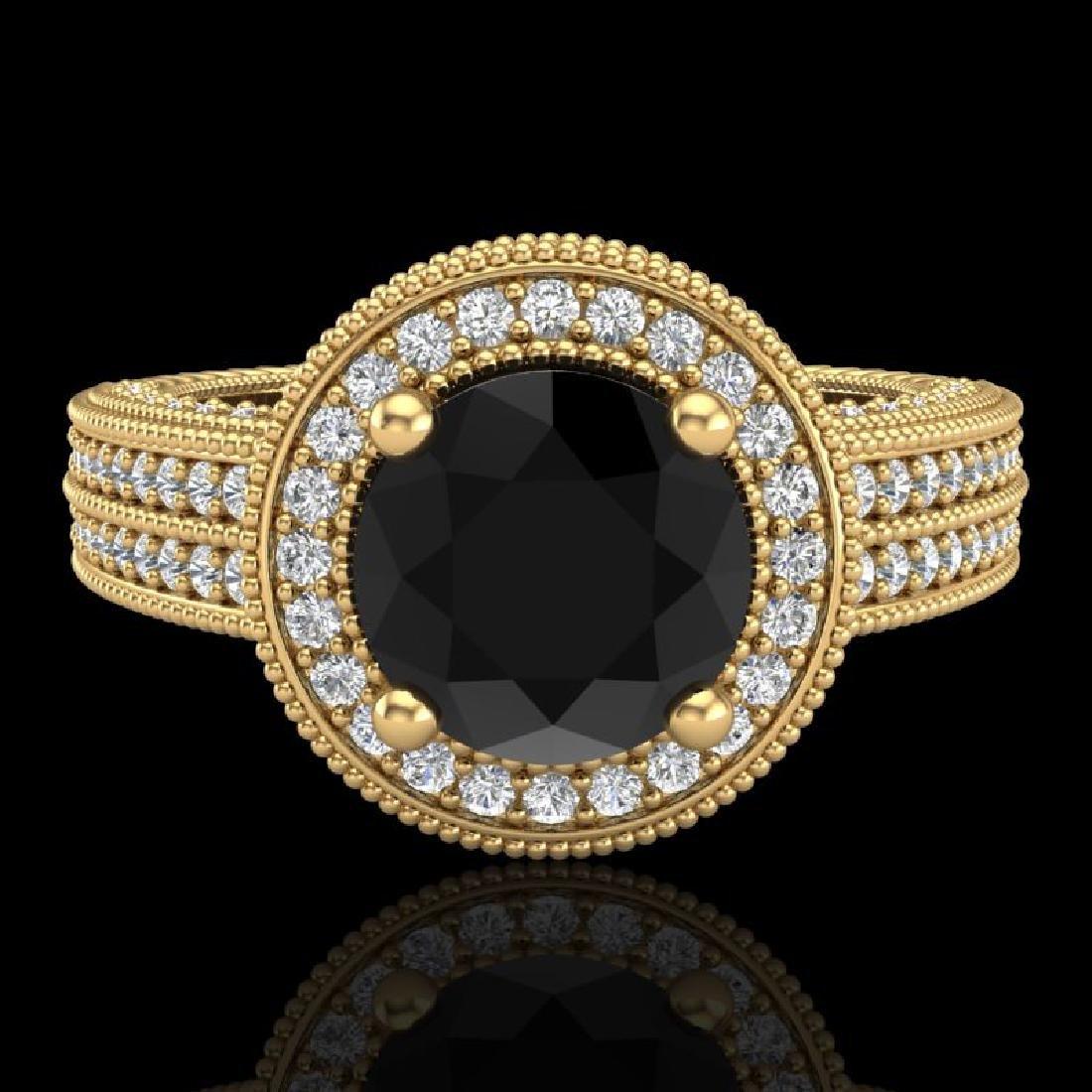 2.8 CTW Fancy Black Diamond Solitaire Engagement Art - 2