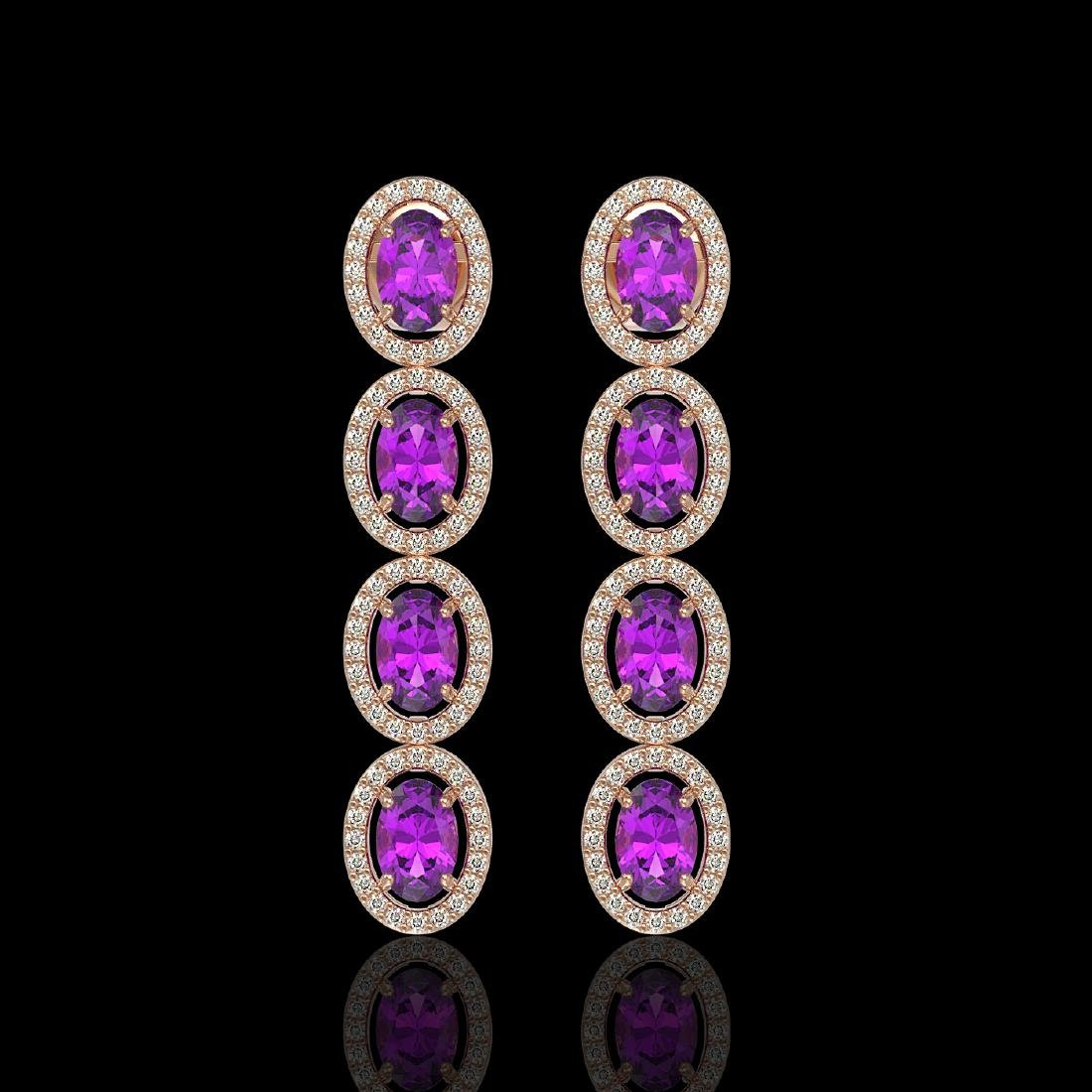 5.56 CTW Amethyst & Diamond Halo Earrings 10K Rose Gold