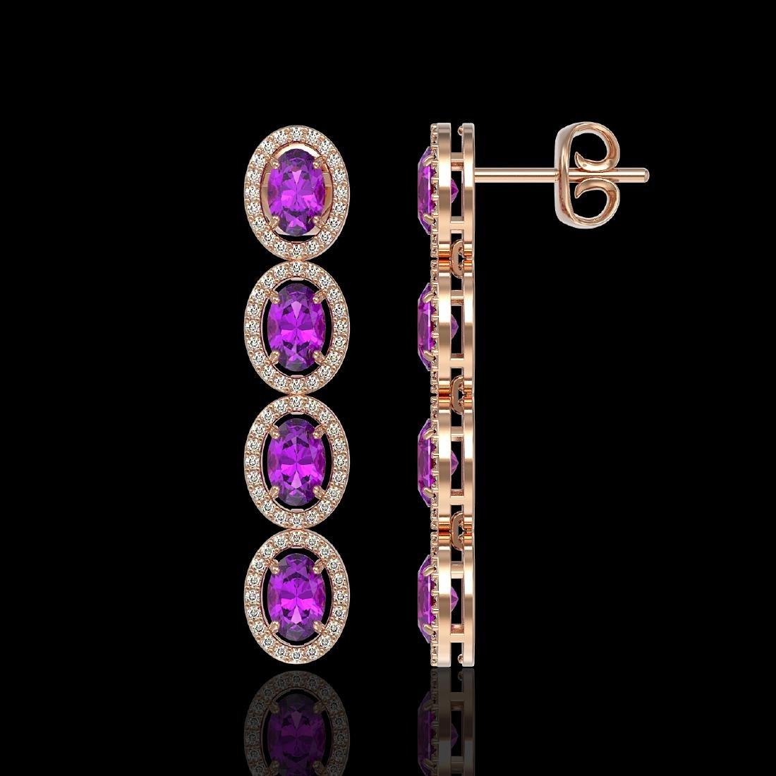 5.56 CTW Amethyst & Diamond Halo Earrings 10K Rose Gold - 2