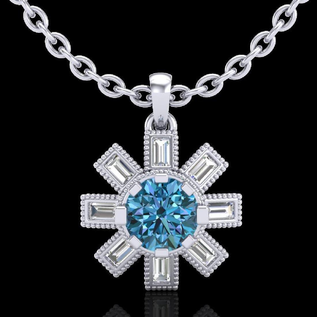 1.33 CTW Fancy Intense Blue Diamond Solitaire Art Deco