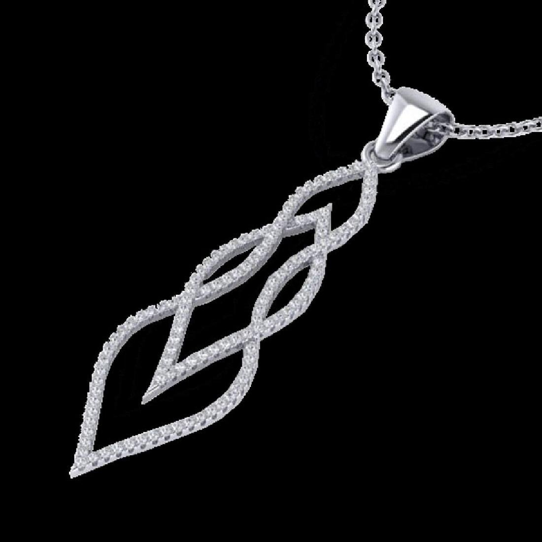 0.80 CTW Micro Pave VS/SI Diamond Necklace 14K White - 2