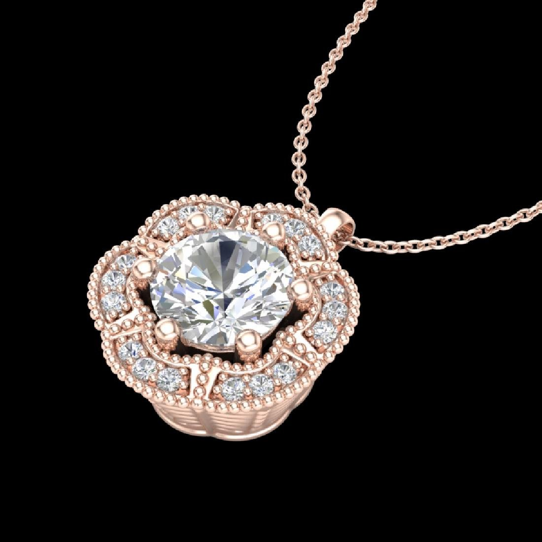 1.01 CTW VS/SI Diamond Solitaire Art Deco Stud Necklace