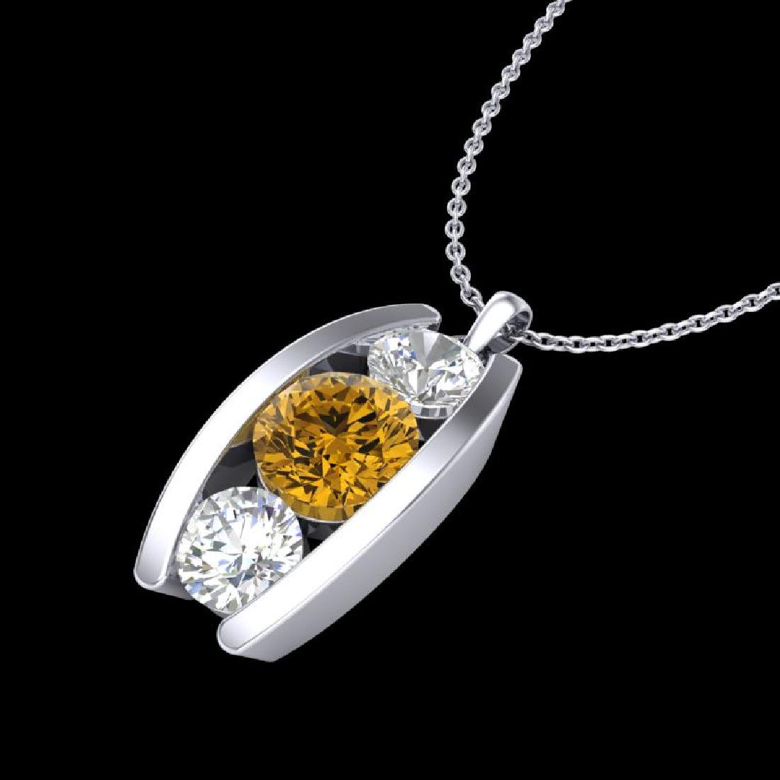 1.07 CTW Intense Fancy Yellow Diamond Art Deco Stud - 2