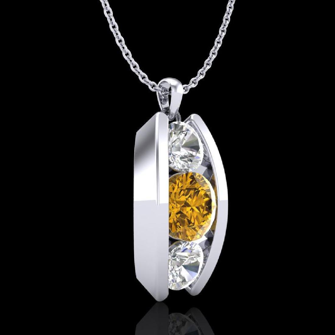 1.07 CTW Intense Fancy Yellow Diamond Art Deco Stud - 3