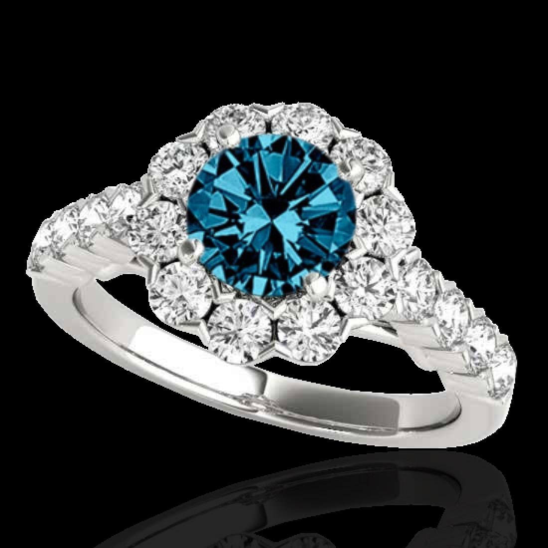 2.35 CTW SI Certified Fancy Blue Diamond Solitaire Halo