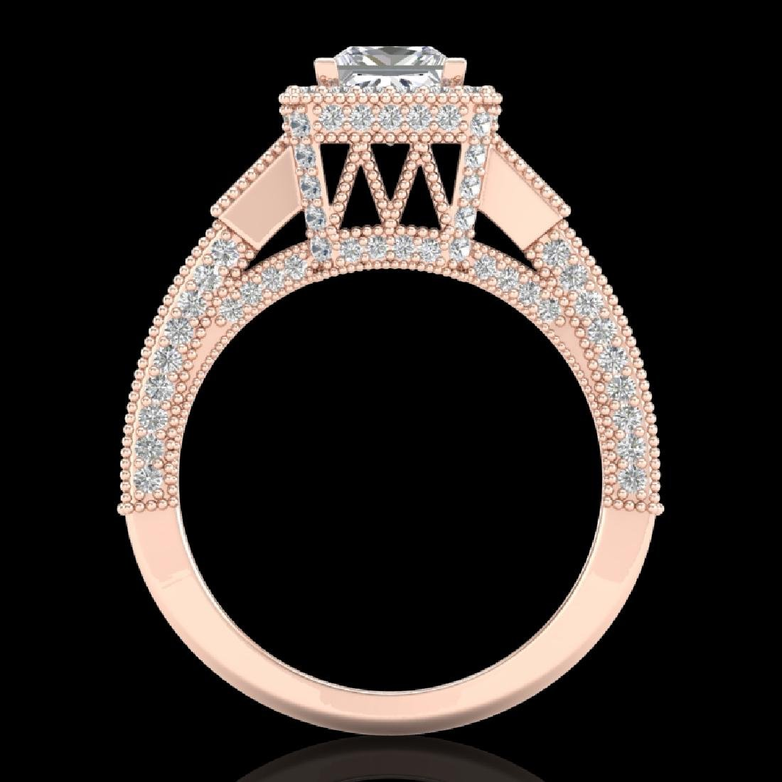 3.53 CTW Princess VS/SI Diamond Micro Pave 3 Stone Ring