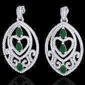 7 CTW Emerald  Micro Pave VSSI Diamond Heart Earrings