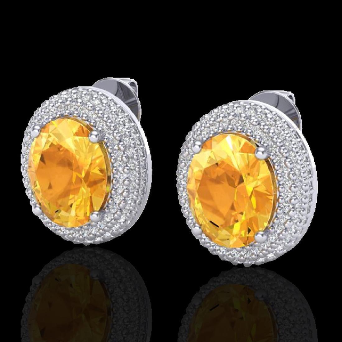 8 CTW Citrine & Micro Pave VS/SI Diamond Earrings 18K