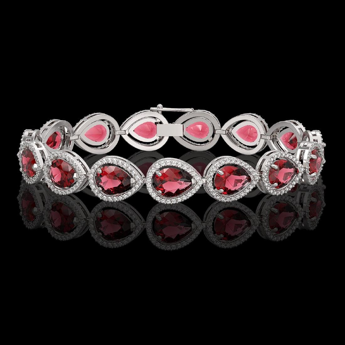 19.7 CTW Tourmaline & Diamond Halo Bracelet 10K White