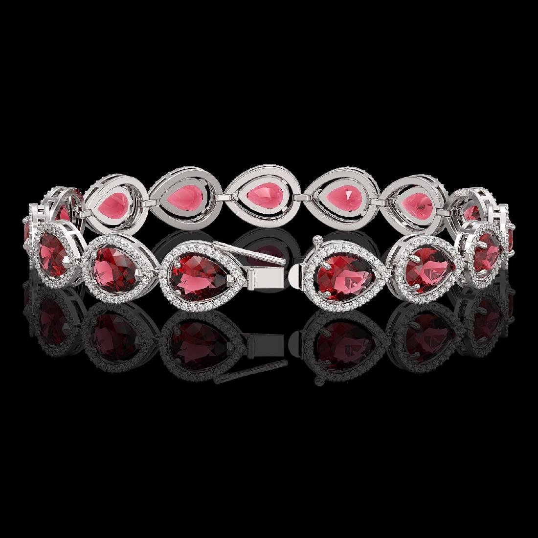 19.7 CTW Tourmaline & Diamond Halo Bracelet 10K White - 2