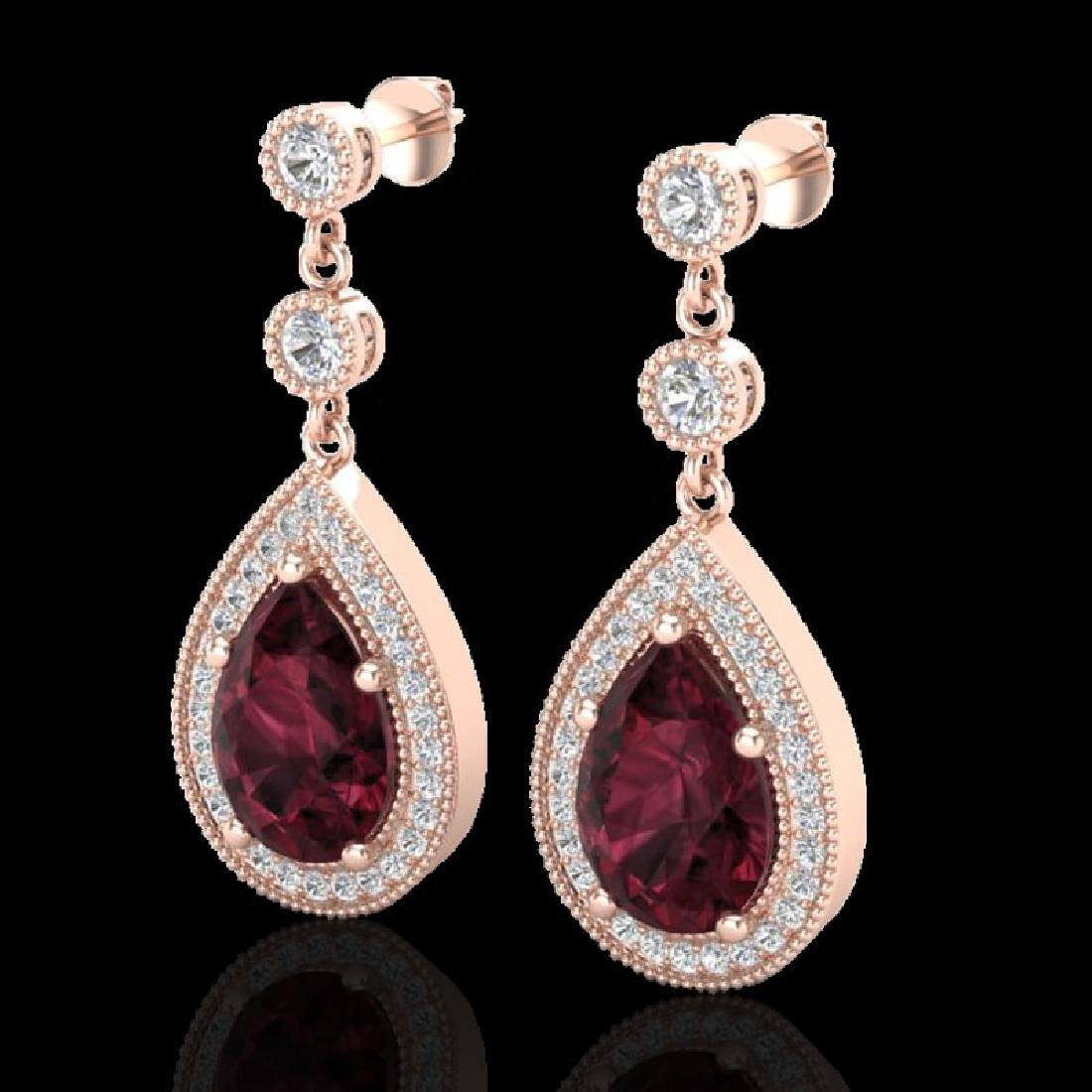 4.50 CTW Garnet & Micro Pave VS/SI Diamond Earrings