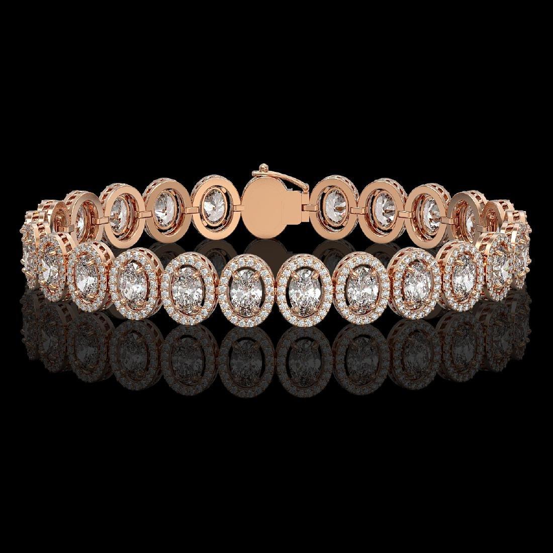 15.8 CTW Oval Diamond Designer Bracelet 18K Rose Gold