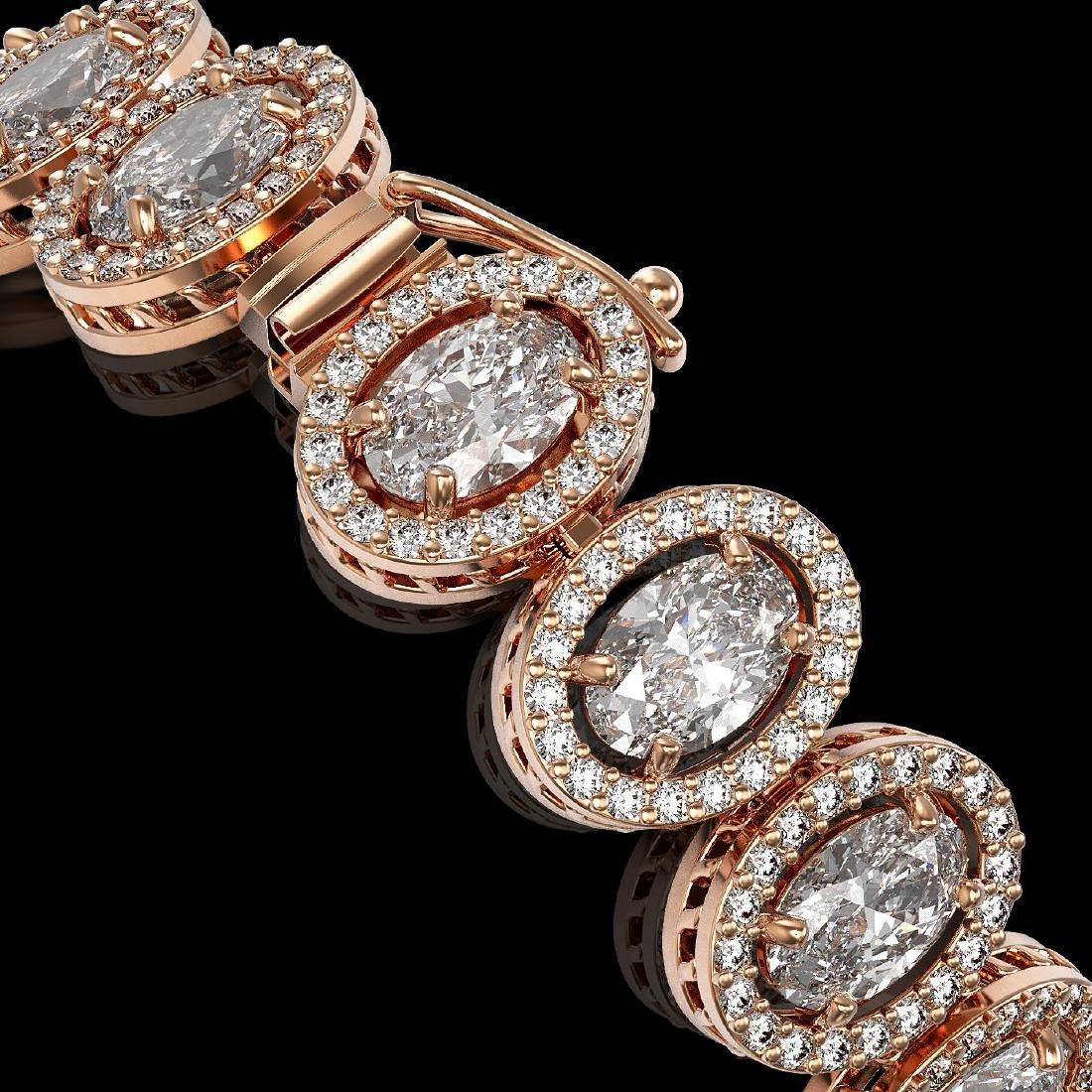 15.8 CTW Oval Diamond Designer Bracelet 18K Rose Gold - 3