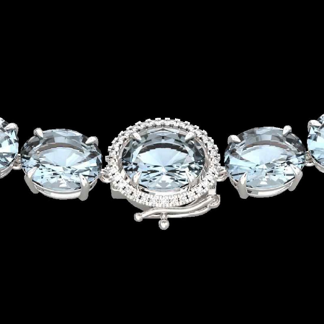 136 CTW Aquamarine & VS/SI Diamond Halo Micro Eternity