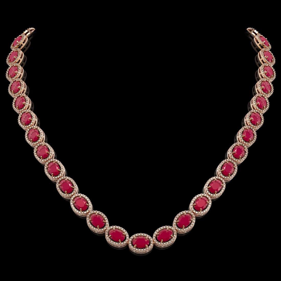52.15 CTW Ruby & Diamond Halo Necklace 10K Rose Gold