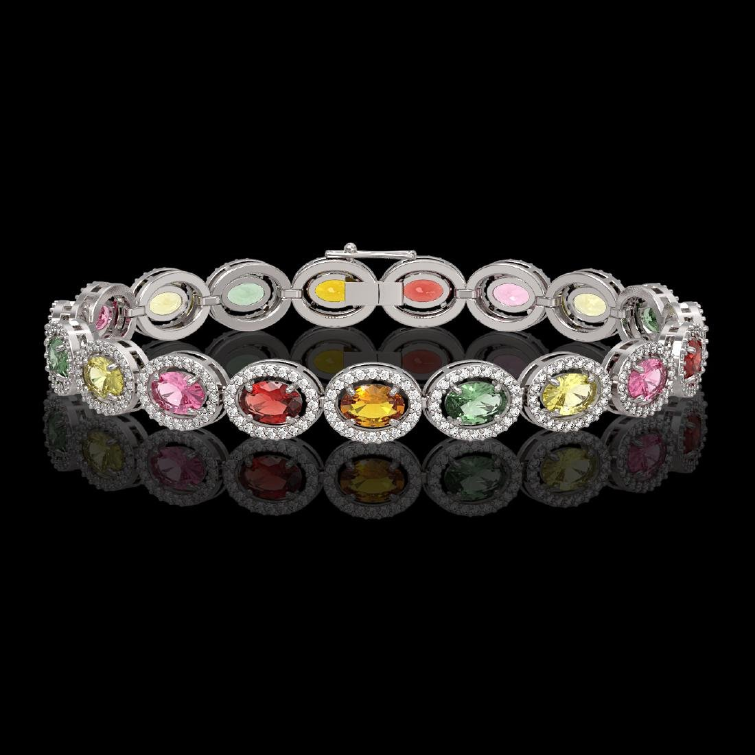 14.25 CTW Multi Color Sapphire & Diamond Halo Bracelet