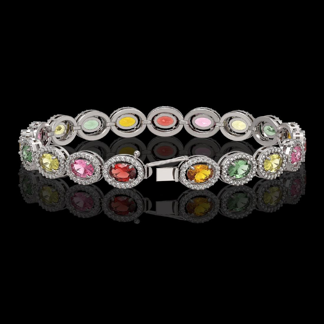 14.25 CTW Multi Color Sapphire & Diamond Halo Bracelet - 2