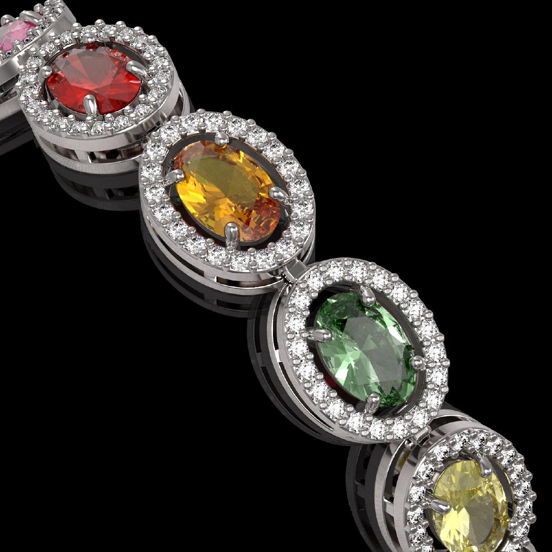 14.25 CTW Multi Color Sapphire & Diamond Halo Bracelet - 3