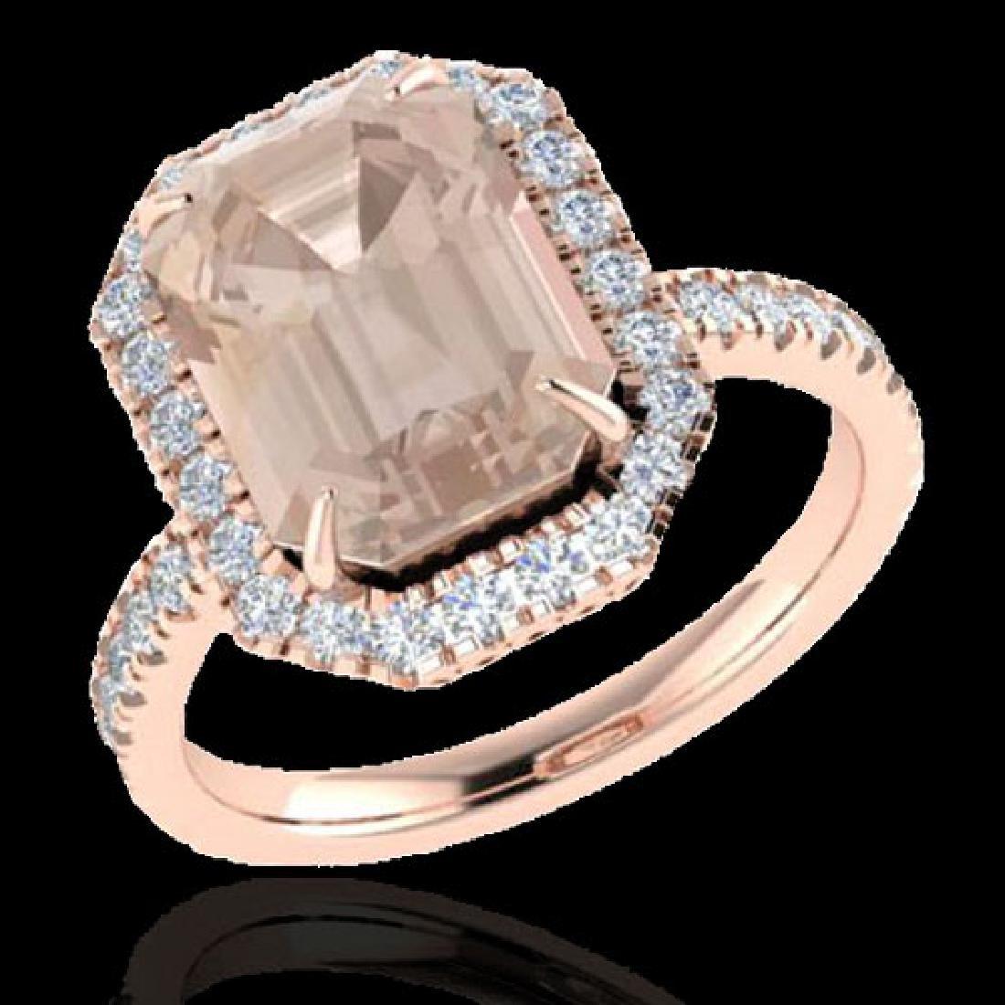 4.50 CTW Morganite & Micro Pave VS/SI Diamond Halo Ring